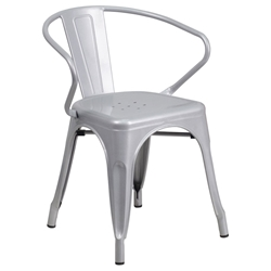 Ally Modern Industrial Dining Chair in Silver
