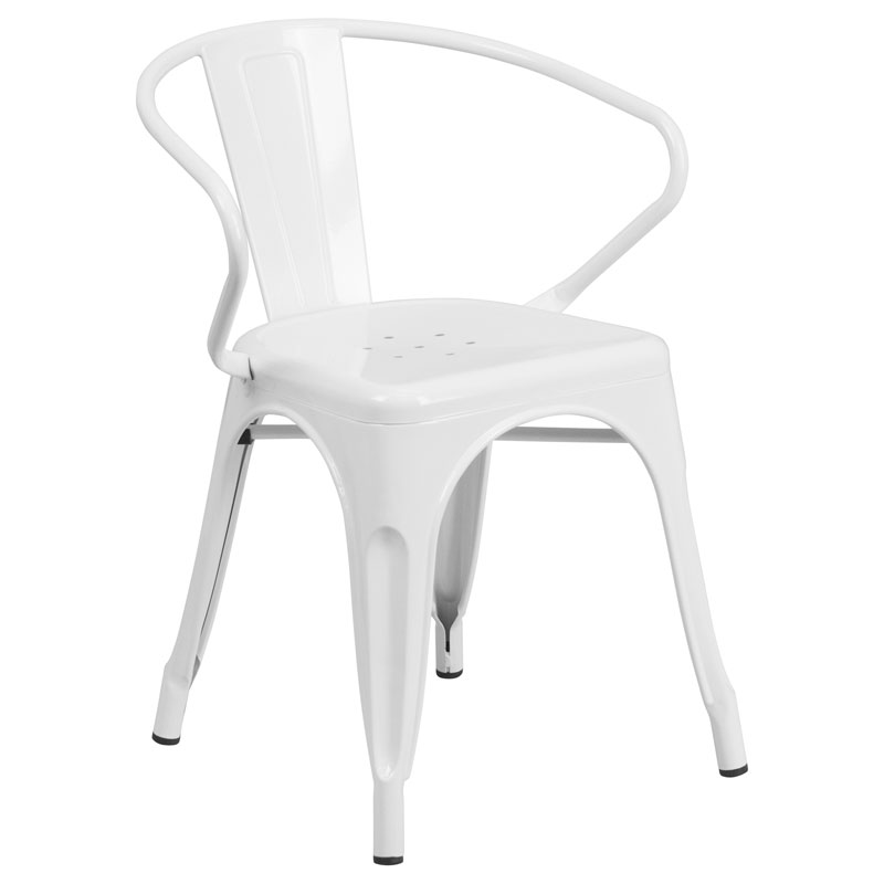 Ally Modern Industrial Dining Chair in White