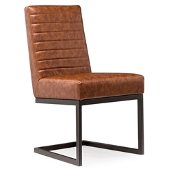 Almiro Brown Faux Leather Modern European Dining Contemporary Side Chair