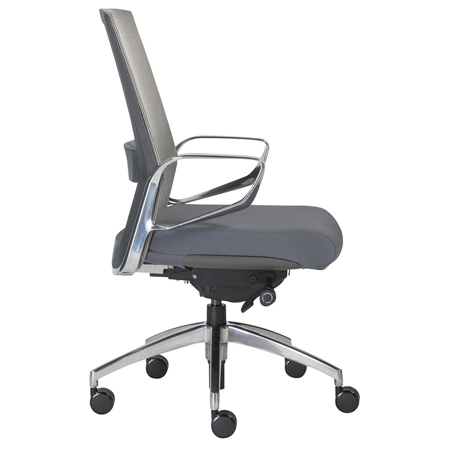 Alpha Gray Modern Mid Back Office Chair Side View