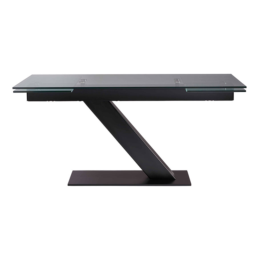 ... Alpine Clear Tempered Glass + Black Steel Extendable Dining Table ...