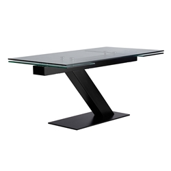 Alpine Clear Tempered Glass + Black Steel Modern Extension Dining Table