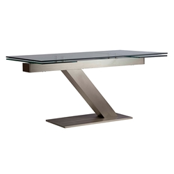 Alpine Clear Tempered Glass + Brushed Steel Modern Extension Dining Table