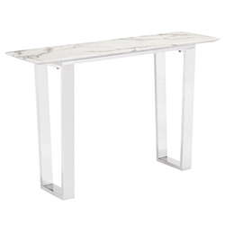 Alshon White Faux Marble Top + Brushed Steel Base Modern Console Table
