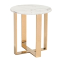 Alshon White Faux Marble Top + Gold Stainless Steel Base Modern End Table