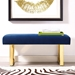 Alta Blue Velvet + Gold Steel Contemporary Bench