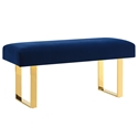 Alta Blue Velvet + Gold Modern Bench