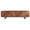Altima American Walnut + Stainless Steel Modern Media Stand