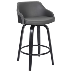 Amber Modern Black Wood + Gray Faux Leather Counter Stool