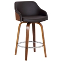 Amber Modern Walnut + Brown Faux Leather Counter Stool