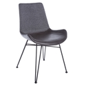 Amberglen Dark Gray Fabric / Leatherette + Black Powder Coated Steel Modern Dining Side Chair