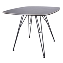 Alisa Gray Stone Patterned Spanish Ceramic Glass Top + Black Powder Coated Steel Legs Modern Rectangular Dining Table