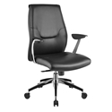 Amherst Black Faux Leather + Chrome Modern Office Chair