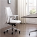 Amherst White Faux Leather + Chrome Modern Office Chair - Lifestyle