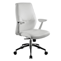 Amherst White Faux Leather + Chrome Modern Office Chair