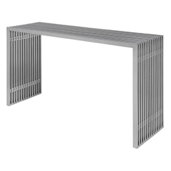 Amici Brushed Steel Rectangle Modern Console Table by Nuevo