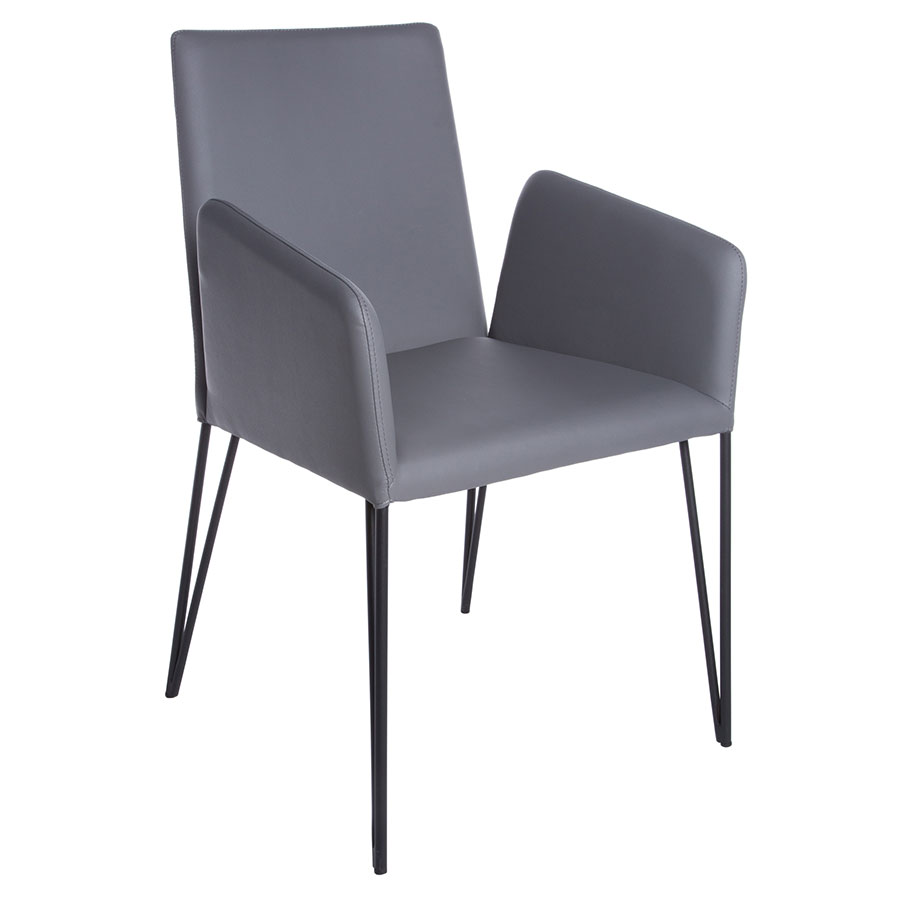 Artem Gray Leatherette + Black Metal Modern Dining Arm Chair