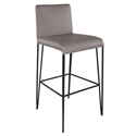 Amir Taupe Faux Leather + Black Metal Modern Bar Stool