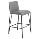 Amir Gray Faux Leather + Black Metal Modern Counter Stool