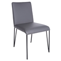 Amir Gray Faux Leather + Black Metal Modern Dining Side Chair