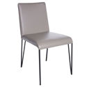 Amir Black Hairpin Metal + Taupe Faux Leather Modern Dining Side Chair