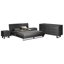 Amsterdam Contemporary Bedroom Set in Gray Oak Wood and Black Metal