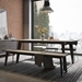 Modloft Amsterdam Gray Concrete Top + Black Steel Base Modern Bench - Lifestyle