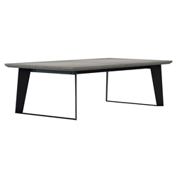 Modloft Amsterdam Gray Concrete Outdoor Modern Coffee Table with Black Steel Base