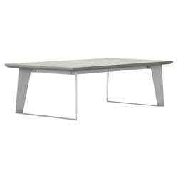 Modloft Amsterdam White Sand Concrete Outdoor Modern Coffee Table with White Steel Base