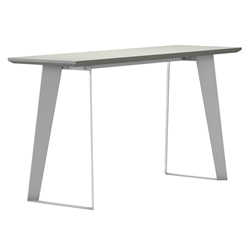 Modloft Amsterdam White Sand Concrete Modern Console Table with White Steel Base