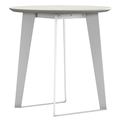 Modloft Amsterdam Modern Counter Table in White Sand Concrete with White Steel Base