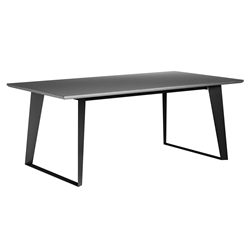 Modloft Amsterdam Outdoor Gray Concrete Modern Dining Table with Black Steel Base