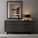 Modloft Amsterdam Gray Concrete + Italian Gray Oak + Black Steel Modern High Chest of Drawers Dresser - Lifestyle Front View