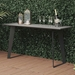Modloft Amsterdam Outdoor Modern Gray Concrete Console Table with Black Steel Base - Lifestyle with Props