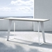 Modloft Amsterdam White Sand Concrete Modern Outdoor Console Table with White Steel Base - Lifestyle with View