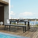 Modloft Amsterdam Outdoor Gray Concrete Modern Dining Table with Black Steel Base - Lifestyle Outoor