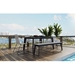 Modloft Amsterdam Gray Concrete Outdoor Modern Dining Table with Black Steel Base - Lifestyle