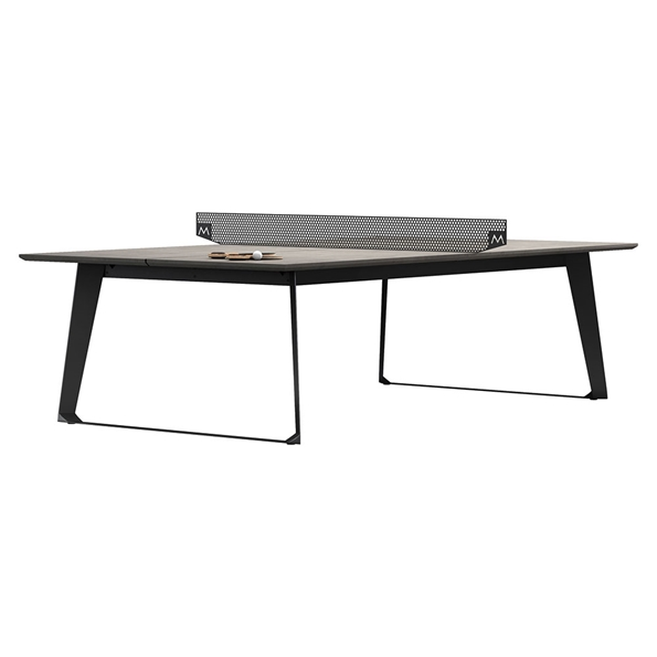 Amsterdam Outdoor Modern Ping Pong Table in Gray Concrete with Black Steel Base by Modloft Black