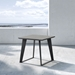 Modloft Amsterdam Gray Concrete Outdoor Modern Side Table with Black Steel Base - Lifestyle