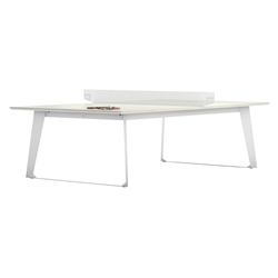 Amsterdam Modern Ping Pong Table in White Sand Concrete with White Steel Base by Modloft Black