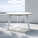 Modloft Amsterdam Round Modern Outdoor Dining Table in White Sand Concrete with White Steel Base - Lifestyle Vista