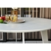 Modloft Amsterdam Round Modern Outdoor Dining Table in White Sand Concrete with White Steel Base - Lifestyle Detail View