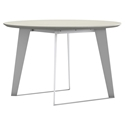 Modloft Amsterdam Round Outdoor Modern Dining Table in White Sand Concrete with White Steel Base