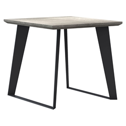 Modloft Amsterdam Gray Concrete Modern Side Table with Black Steel Base