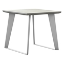 Modloft Amsterdam White Sand Concrete Modern Side Table with White Steel Base