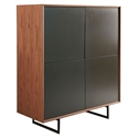 Anderson Modern Walnut + Gray Storage Cabinet by Euro Style