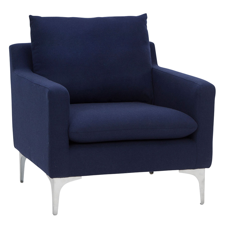 Andre Modern Lounge Chair In Navy Blue Eurway