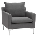 Andre Slate Gray Fabric + Brushed Stainless Steel Modern Lounge Arm Chair