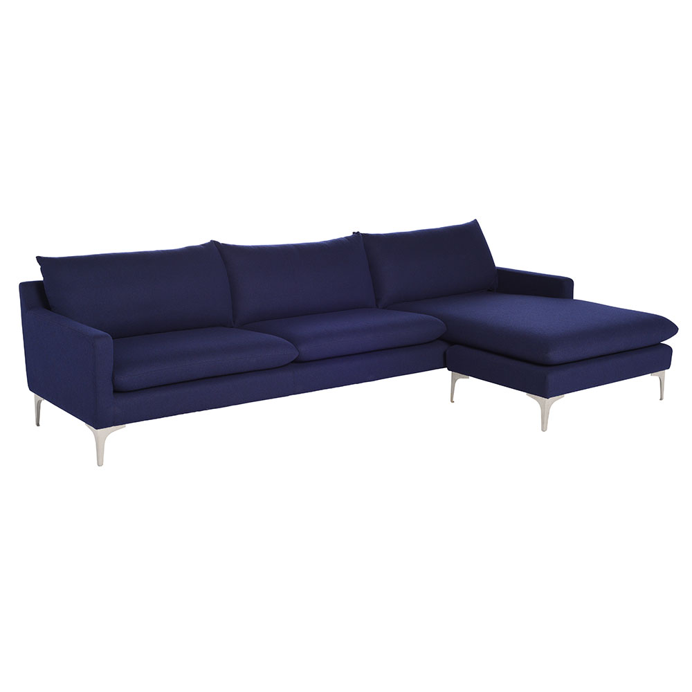 Andre Navy Blue Fabric Upholstery + Brushed Stainless Steel Modern  Sectional Sofa
