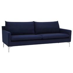 Andre Modern Sofa in Navy Blue Fabric with Brushed Stainless Steel Legs